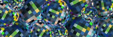 Blue crystal spheres abstract pattern. Creative glass balls 3d background. royalty free illustration