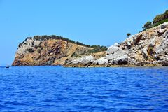 Blue crystal water view in Greece royalty free stock photo