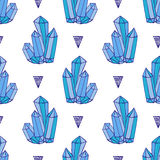 Blue crystals seamless pattern. Minerals rocks. Hand drawn. Vector fashion background Royalty Free Stock Photography