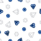 Blue crystals on a white background. Seamless pattern. Vector illustration Royalty Free Stock Photos