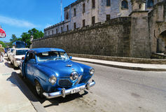Blue Cuban retro car Royalty Free Stock Image