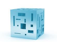 Blue cube. Blue 3d cube with holes on white stock illustration