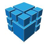 Blue cube Royalty Free Stock Photo