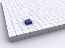 The blue cube. Outstanding blue cube among other white cube - 3d render Stock Images