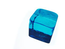 Blue Cube. Blue Glas Cube on white Background Royalty Free Stock Image