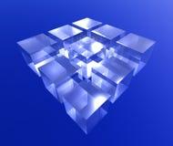 blue cube Arkivbild