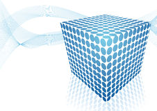 Blue cube abstract design. Of abstract dots Stock Images