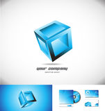 Blue cube box 3d logo icon design games Royalty Free Stock Images
