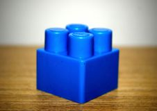 Blue cube from construction set to play. Stock Photo