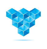Blue cube design Stock Images
