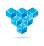 Blue cube design. For business artwork Stock Images