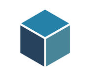 Blue Cube Icon Stock Photo
