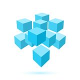 Blue cube icon. Logo template Stock Images