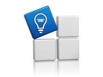 Blue cube with idea symbol like light bulb icon Royalty Free Stock Photo