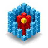 Blue cube logo with red segments Royalty Free Stock Image