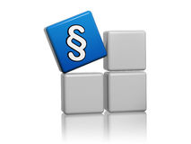 Blue cube with paragraph sign on boxes Stock Images