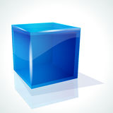 Blue cube on white background. Royalty Free Stock Images