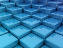Blue cubes. Sky blue cubes background - rising boxes Royalty Free Stock Photos