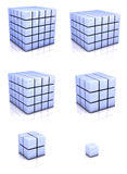 Blue cubes. Group of 3D blue cubes on white background Royalty Free Stock Photography