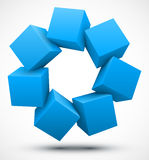 Blue cubes 3D. Vector illustration of blue cubes 3D Royalty Free Stock Images