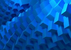 Blue cubes abstract. Spiral of ordered blue cubes all together Stock Image