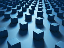 Blue Cubes Abstract Dark Geometric Background. 3d Render Illustration Royalty Free Illustration
