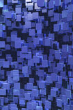 Blue cubes background. Hundreds of suspended square elements suspended Stock Image