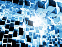 Blue Cubes Background. Metal cubes flying into the abyss of light, 3d render Stock Photo