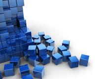 Blue cubes background. Abstract 3d illustration of blue cubes construction over white background Royalty Free Stock Photo