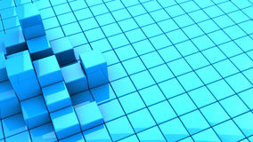 Blue cubes background. Abstract 3d illustration of blue cubes background stock illustration