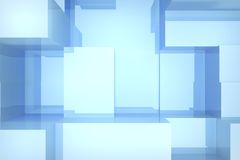 Blue cubes background. Abstract blue cubes background, 3d render Royalty Free Stock Photo