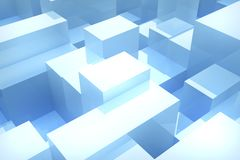 Blue cubes background. Abstract blue cubes background, 3d render Stock Photography