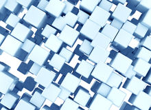 Blue cubes background. 3d rendering of glossy metallic blue cubes. Abstract digital background Royalty Free Stock Image