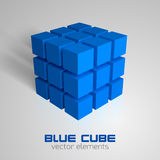 Blue Cubes. Big blue cube makes of small cubes. Vector object Royalty Free Stock Image