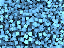Blue cubes chaos. Abstract 3d illustration of blue cubes chaos background Stock Images