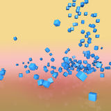 Blue cubes. 3d abstract background blue cubes fall on the mirror surface Stock Photo
