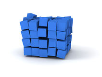 Blue cubes. 3D blue cubes burstting on white background Stock Photo