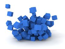 Blue cubes. 3D blue cubes burstting on white background Stock Image