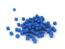 Blue cubes. 3D blue cubes burstting on white background Stock Photography