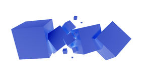 Blue cubes. 3d generated blue cubes on white background Stock Images