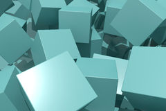 Blue cubes. 3d rendering of an abstract scene with blue cubes Stock Image