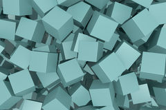 Blue cubes. 3d rendering of an abstract scene with blue cubes Royalty Free Stock Photo