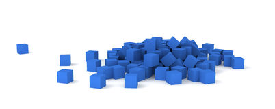 Blue cubes. 3D blue cubes on white background Royalty Free Stock Photo