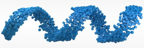 Blue cubes flow. 3d style vector illustration. Suitable for any banner, ad, technology, big data and abstract themes Royalty Free Illustration