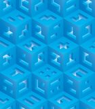 Blue cubes isometric seamless pattern. Vector tileable background. Blockchain technology concept vector illustration