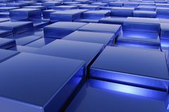 Blue cubes. A landscape with many blue cubes Royalty Free Stock Photography