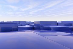 Blue cubes. A landscape with many blue cubes Stock Photos