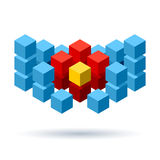 Blue cubes logo with red segments Royalty Free Stock Photos