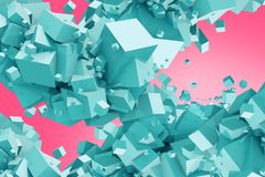 Blue Cubes on Pink Background. Abstract 3D Illustration. Cubes Clusters Royalty Free Stock Images