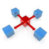 Blue Cubes With Red Cube Stock Photography